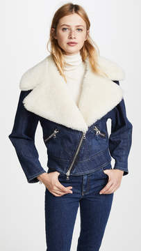 ADAM by Adam Lippes Moto Jacket with Shearling Collar