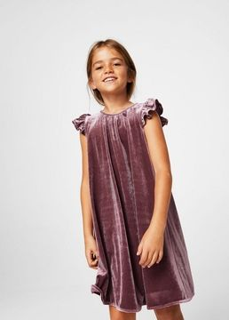 MANGO Ruffled velvet dress