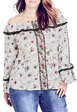 City Chic Plus Love Story Floral Off-The-Shoulder Top