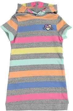 Little Marc Jacobs Hooded Striped Cotton Sweatshirt Dress