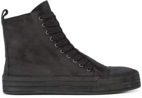 Ann Demeulemeester layered lace-up hi-top sneakers