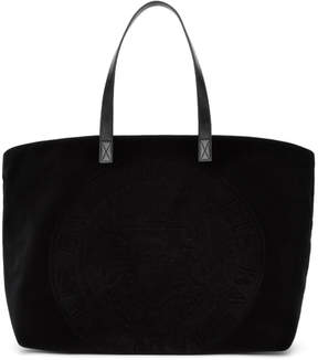 Balmain Black Velvet Logo Shopping Horizontal Tote