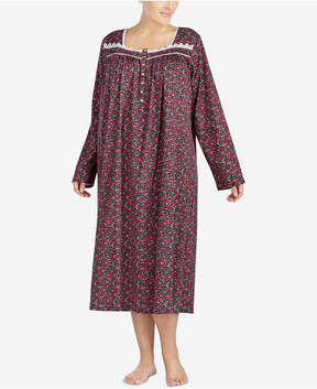 Eileen West Plus Size Venise-Lace-Trimmed Cotton Nightgown