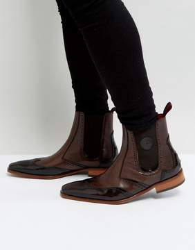 Jeffery West Scarface Brogue Chelsea Boots In Brown Leather
