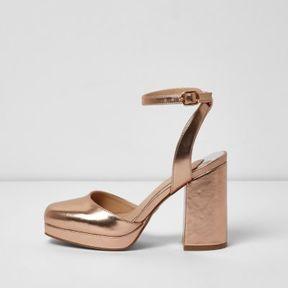 River Island Womens Gold metallic platform block heel sandals