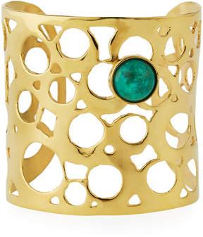 Devon Leigh Wide Cutout Cuff Bracelet w/ Green Cabochon