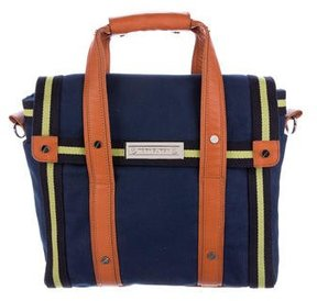 Tory Burch Leather-Trimmed Canvas Bag - BLUE - STYLE