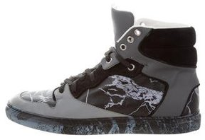 Balenciaga Leather Marble Print Sneakers