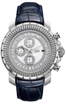 JBW Men's Titus 12-Diamond Silvertone Stainless Steel Navy Blue Leather Watch