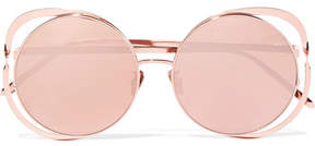 Linda Farrow Round-frame Rose Gold-plated Mirrored Sunglasses - Pink