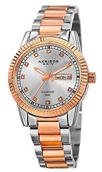 Akribos XXIV Diamond Dial Two Tone Ladies Watch