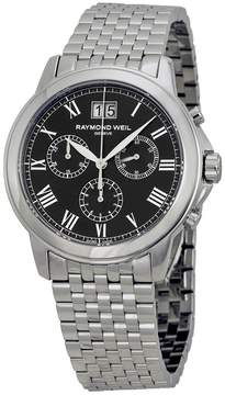 Raymond Weil Tradition Chronograph Black Dial Stainless Steel Men's Watch