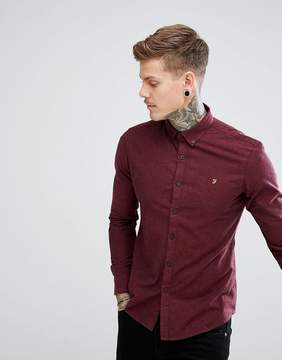 Farah Steen Slim Fit Weft Shirt in Burgundy