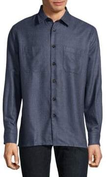 Luciano Barbera Textured Silk & Wool Button-Down Shirt