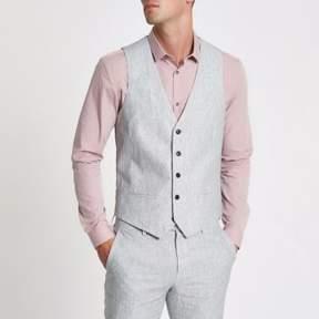 River Island Mens Grey linen stripe vest
