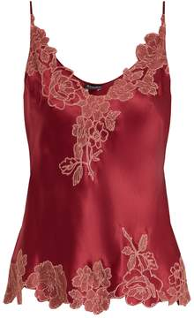 Carine Gilson Lace-trimmed silk-satin cami top