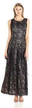 Alex Evenings Sequined Lace Ruffle Gown.
