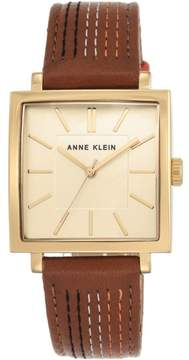Anne Klein Goldtone Square Dial Brown Leather Strap Watch