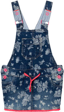 Billieblush Blue Floral Denim Dungaree Dress with Pom Pom Hem