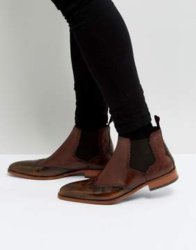 Jeffery West Capone Brogue Chelsea Boots In Tan