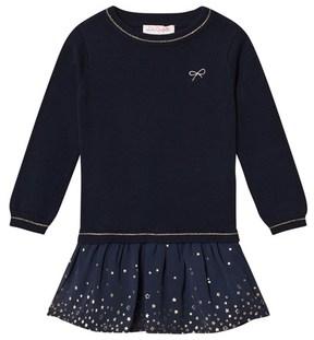 Lili Gaufrette Navy Knit Jumper and Star Tulle Skirt Dress