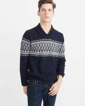Abercrombie & Fitch Fair Isle Shawl Collar Sweater