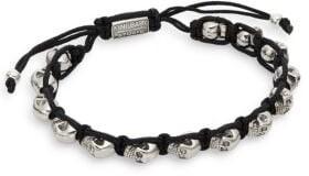 King Baby Studio Skull Macrame Bracelet/Silvertone