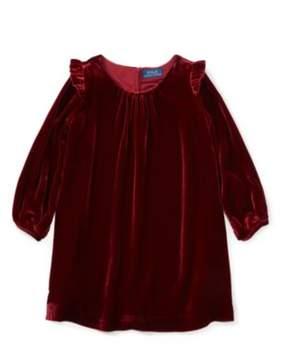 Ralph Lauren Velvet Long-Sleeve Dress Holiday Red 2T