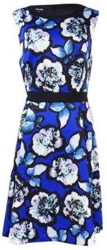 Nine West Women's Floral Contrast-Trim A-Line Dress (10, Royal Blue Combo)