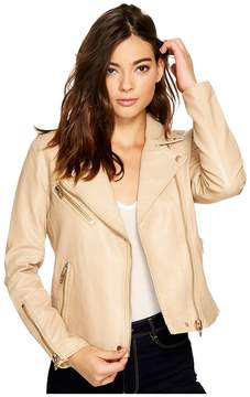 Blank NYC Natural Vegan Leather Moto Jacket in Natural Light Women's Coat