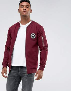 Hype Jersey Bomber Jacket In Burgundy