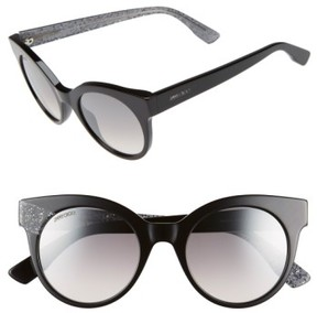 Jimmy Choo Women's 'Mirta' 49Mm Glitter Detail Cat Eye Sunglasses - Black