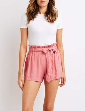 Charlotte Russe Tie Front Paperbag Shorts