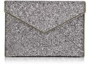 Rebecca Minkoff Glitter Leo Envelope Clutch - SILVER - STYLE