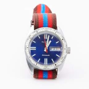 Blade + Blue Vintage Clinton Diver&|39;s Watch with Striped Band