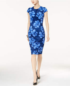 Betsey Johnson Floral-Print Knit Midi Sheath Dress