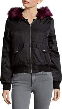 C&C California Women's Faux Fur Trim Bomber Jacket