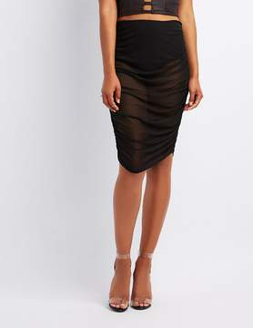 Charlotte Russe Mesh Ruched Bodycon Skirt