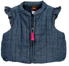 Tea Collection Citizen Chambray Zip Vest (Baby Girls)