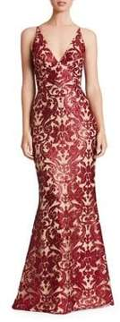 Dress the Population Plunging Spaghetti Strap Gown