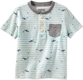Osh Kosh Oshkosh Bgosh Toddler Boy Stripes & Sharks Pocket Henley Top