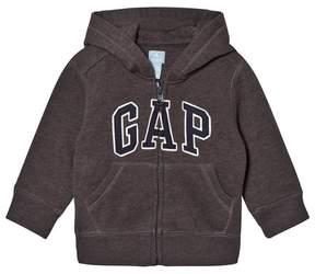 Gap Charcoal Heather Grey Fleece Zip Logo Hoodie