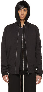 Rick Owens Black Cotton and Nylon Flight Jacket