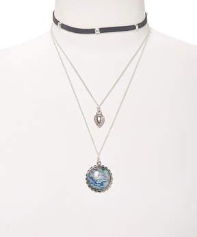 Carole Blue Stone & Black Layered Choker Necklace