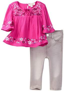 Jessica Simpson Crinkle Viscose Lace-Up Top & Jean Set (Baby Girls)