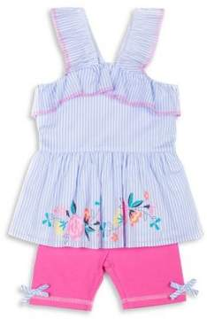 Little Lass Little Girl's Two-Piece Striped Cotton Top and Bike Shorts Set