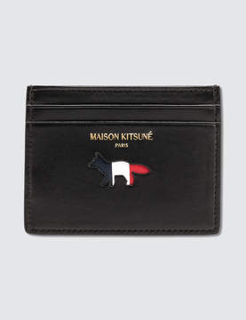MAISON KITSUNÉ Tricolor Fox Leather Card Holder