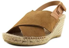 Kanna Serraje Women Open Toe Leather Tan Wedge Sandal.