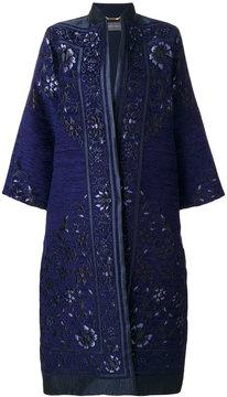 Alberta Ferretti mandarin neck jacquard coat