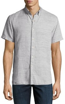 Joe's Jeans Henry Short-Sleeve Slub Cotton-Linen Shirt, Gray